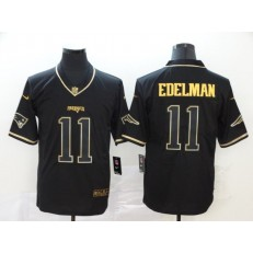 New England Patriots #11 Julian Edelman Black Gold Throwback Vapor Untouchable Limited Nike NFL Men Jersey