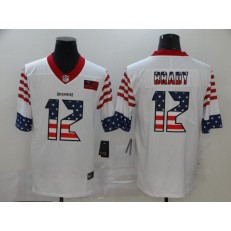 Tampa Bay Buccaneers #12 Tom Brady White USA Flag Fashion Limited Nike NFL Men Jersey