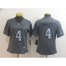 Women Nike Dallas Cowboys #4 Dak Prescott Gray Camo Vapor Untouchable Limited Jersey
