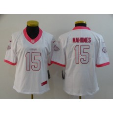 Women Nike Kansas City Chiefs #15 Patrick Mahomes White Pink Vapor Untouchable Limited Jersey