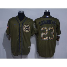 MLB Chicago Cubs #23 Ryne Sandberg Olive 2020 Nike Cool Base Jersey