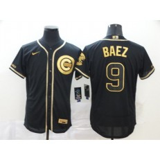 MLB Chicago Cubs #9 Javier Baez Black Gold Nike Flexbase Jersey