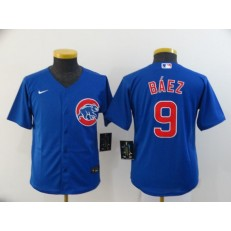 MLB Chicago Cubs #9 Javier Baez Royal Youth 2020 Nike Cool Base Jersey