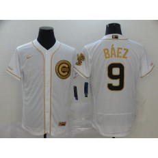 MLB Chicago Cubs #9 Javier Baez White Gold Nike Flexbase Jersey