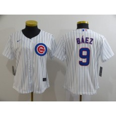 MLB Chicago Cubs #9 Javier Baez White Women 2020 Nike Cool Base Jersey
