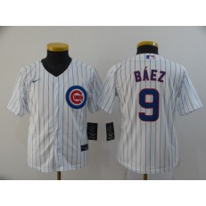 MLB Chicago Cubs #9 Javier Baez White Youth 2020 Nike Cool Base Jersey