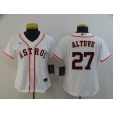 MLB Houston Astros 27 Jose Altuve White Women 2020 Nike Cool Base Jersey