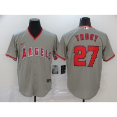 MLB Los Angeles Angels 27 Mike Trout Gray 2020 Nike Cool Base Jersey