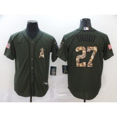 MLB Los Angeles Angels 27 Mike Trout Olive 2020 Nike Cool Base Jersey