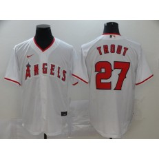 MLB Los Angeles Angels 27 Mike Trout White 2020 Nike Cool Base Jersey