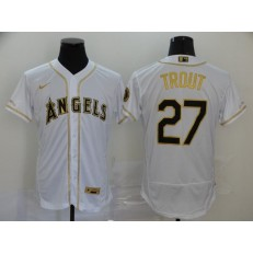 MLB Los Angeles Angels 27 Mike Trout White Gold 2020 Nike Flexbase Jersey