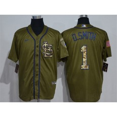 MLB St. Louis Cardinals #1 O.Smith Olive 2020 Nike Cool Base Jersey
