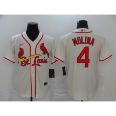 MLB St. Louis Cardinals #4 Yadier Molina Cream 2020 Nike Cool Base Jersey