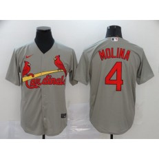MLB St. Louis Cardinals #4 Yadier Molina Gray 2020 Nike Cool Base Jersey