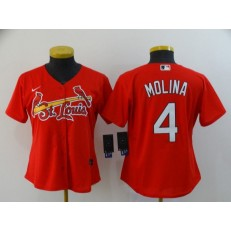 MLB St. Louis Cardinals #4 Yadier Molina Red Women Nike Flexbase Jersey
