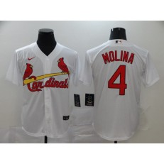 MLB St. Louis Cardinals #4 Yadier Molina White 2020 Nike Cool Base Jersey