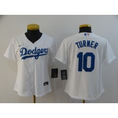 MLB Los Angeles Dodgers #10 Justin Turner White Women 2020 Nike Cool Base Jersey