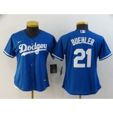 MLB Los Angeles Dodgers #21 Walker Buehler Royal Women 2020 Nike Cool Base Jersey