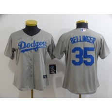 MLB Los Angeles Dodgers #35 Cody Bellinger Gray Women 2020 Nike Cool Base Jersey