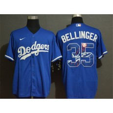 MLB Los Angeles Dodgers #35 Cody Bellinger Royal 2020 Nike Cool Base With Team Logo Jersey