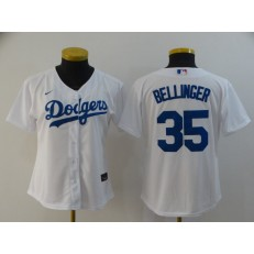 MLB Los Angeles Dodgers #35 Cody Bellinger White Women 2020 Nike Cool Base Jersey