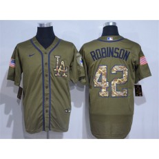 MLB Los Angeles Dodgers #42 Jackie Robinson Olive 2020 Nike Cool Base Jersey