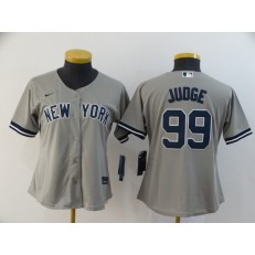 MLB Los Angeles Dodgers #99 Aaron Judge Gray Women 2020 Nike Cool Base Jersey