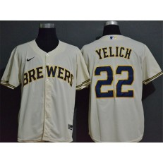 MLB Milwaukee Brewers #22 Christian Yelich Cream Nike 2020 Cool Base Jersey