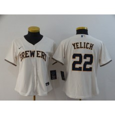 MLB Milwaukee Brewers #22 Christian Yelich Cream Women Nike 2020 Cool Base Jersey