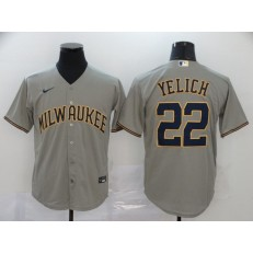 MLB Milwaukee Brewers #22 Christian Yelich Gray Nike 2020 Cool Base Jersey