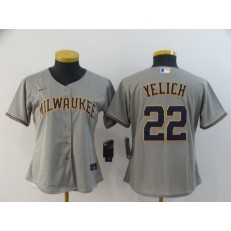 MLB Milwaukee Brewers #22 Christian Yelich Gray Women Nike 2020 Cool Base Jersey