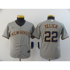 MLB Milwaukee Brewers #22 Christian Yelich Gray Youth Nike 2020 Cool Base Jersey