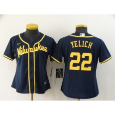 MLB Milwaukee Brewers #22 Christian Yelich Navy Women Nike 2020 Cool Base Jersey