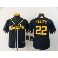 MLB Milwaukee Brewers #22 Christian Yelich Navy Youth Nike 2020 Cool Base Jersey