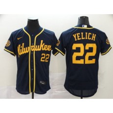 MLB Milwaukee Brewers #22 Christian Yelich New Navy Nike 2020 Flexbase Jersey