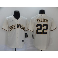 MLB Milwaukee Brewers #22 Christian Yelich White Nike 2020 Cool Base Jersey