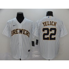 MLB Milwaukee Brewers #22 Christian Yelich White Stripe Nike 2020 Cool Base Jersey