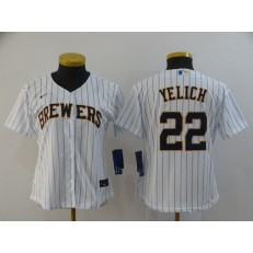 MLB Milwaukee Brewers #22 Christian Yelich White Women Nike 2020 Cool Base Jersey