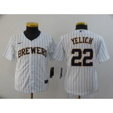 MLB Milwaukee Brewers #22 Christian Yelich White Youth Nike 2020 Cool Base Jersey