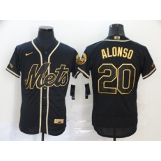 MLB New York Mets #20 Pete Alonso Black Gold 2020 Nike Flexbase Jersey