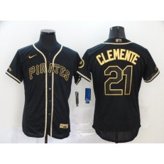 MLB Pittsburgh Pirates #21 Roberto Clemente Black Gold 2020 Nike Flexbase Jersey