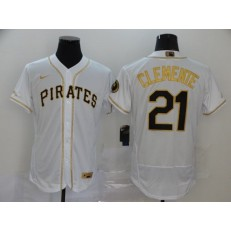MLB Pittsburgh Pirates #21 Roberto Clemente White Gold 2020 Nike Flexbase Jersey