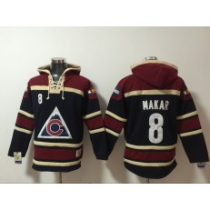 Colorado Avalanche #8 Cale Makar Black Red All Stitched Pullover Hoodie