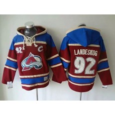 Colorado Avalanche #92 Gabriel Landeskog Burgundy All Stitched Pullover Hoodie