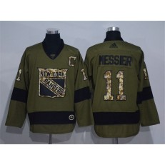New York Rangers #11 Mark Messier Olive Adidas NHL Jersey
