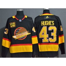 Vancouver Canucks #43 Quinn Hughes Black 50th Season Adidas NHL Jersey