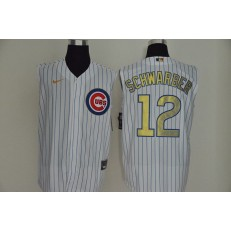 MLB Chicago Cubs #12 Kyle Schwarber White Gold Nike Cool Base Sleeveless Jersey