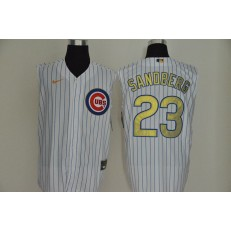 MLB Chicago Cubs #23 Ryne Sandberg White Gold Nike Cool Base Sleeveless Jersey