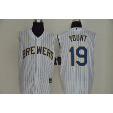 MLB Milwaukee Brewers #19 Robin Yount White Gold Nike Cool Base Sleeveless Jersey