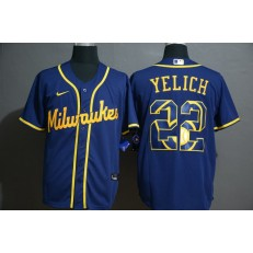 MLB Milwaukee Brewers #22 Christian Yelich Royal 2020 Nike Cool Base Fashion Jersey